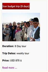 Iran Budget tour 8 days